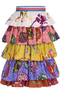 Хлопковая многоярусная юбка с принтом Stella Jean