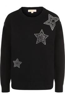 Однотонный пуловер с круглым вырезом и контрастной отделкой MICHAEL Michael Kors