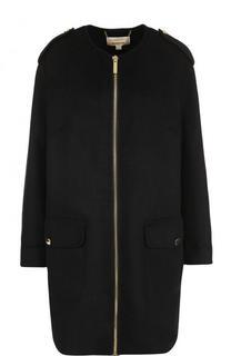 Шерстяное пальто с круглым вырезом и погонами MICHAEL Michael Kors