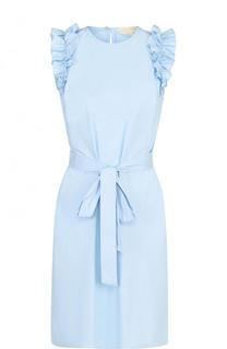 Хлопковое мини-платье с поясом и оборками MICHAEL Michael Kors
