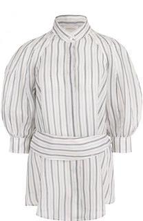 Блуза из смеси льна и шелка с поясом Zimmermann