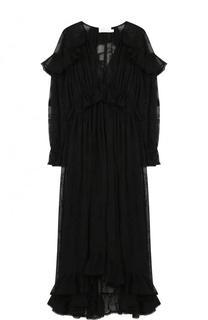 Приталенное шелковое платье-миди с V-образным вырезом Zimmermann