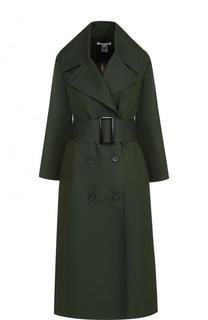 Однотонное хлопковое пальто с поясом Oscar de la Renta