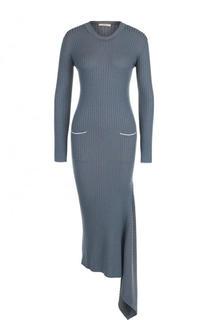 Шерстяное облегающее платье асимметричного кроя Tak.Ori