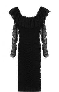 Драпированное платье-футляр с кружевными оборками Dolce & Gabbana