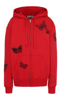 Кардиган на молнии с капюшоном и отделкой в виде бабочек Valentino