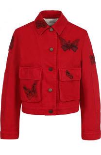 Укороченная джинсовая куртка с отделкой в виде бабочек Valentino
