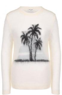 Вязаный пуловер с круглым вырезом и принтом Saint Laurent