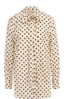 Шелковая блуза в горох с воротником аскот Burberry
