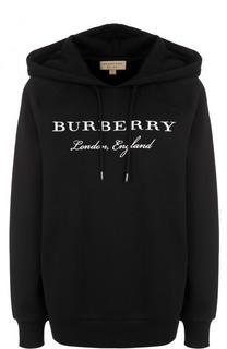 Хлопковая толстовка с капюшоном и логотипом бренда Burberry