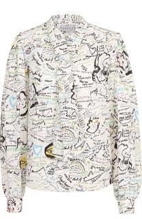 Шелковая блуза с принтом и воротником аскот Maison Margiela
