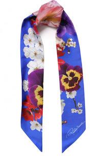Шелковый шарф-бандо с цветочным принтом Roberto Cavalli
