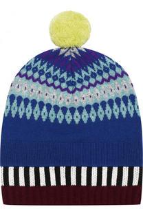 Вязаная шапка из смеси кашемира и шерсти с помпоном Burberry