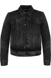 Джинсовая куртка на пуговицах с потертостями Saint Laurent