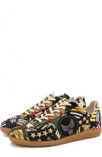 Текстильные кроссовки с нашивками Maison Margiela