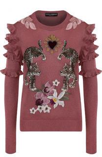 Вязаный пуловер с декоративной отделкой и оборками Dolce & Gabbana