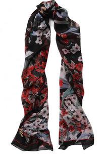 Шелковый шарф с цветочным принтом Roberto Cavalli