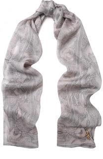 Шелковый шарф с принтом и брошью Roberto Cavalli