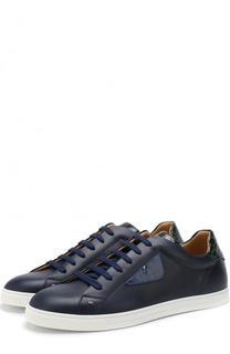 Кожаные кеды на шнуровке с отделкой из кожи каймана Fendi