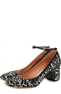 Туфли с вышивкой пайетками на устойчивом каблуке Rochas