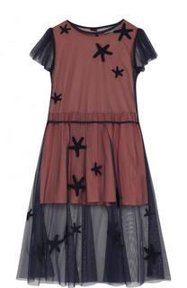 Полупрозрачное платье-миди с вышивкой Stella McCartney