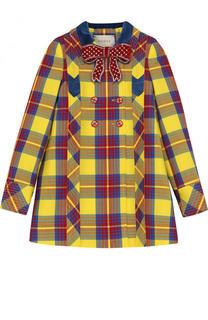 Пальто из хлопка с принтом и декоративным бантом Gucci