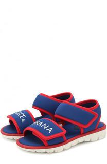 Текстильные сандалии с застежками велькро и логотипом бренда Dolce & Gabbana