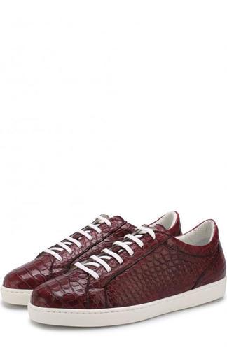 Кеды на шнуровке из кожи крокодила Kiton