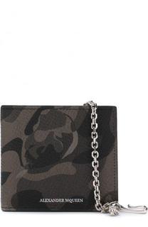 Кожаное портмоне на цепочке с отделениями для кредитных карт и монет Alexander McQueen