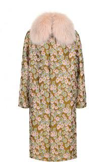 Пальто с цветочным принтом и отделкой из меха песца Bally