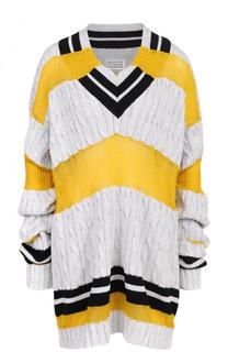 Удлиненный пуловер фактурной вязки с V-образным вырезом Maison Margiela