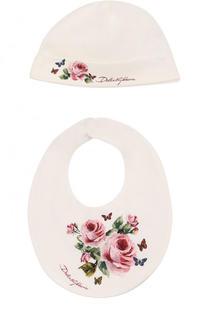Хлопковый комплект из шапки и нагрудника Dolce & Gabbana