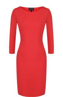 Приталенное однотонное платье с укороченным рукавом Giorgio Armani