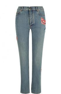 Укороченные джинсы с потертостями и отделкой в виде бабочек Valentino
