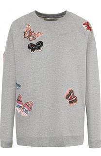 Хлопковый свитшот ч контрастной отделкой в виде бабочек Valentino