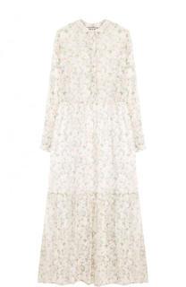 Шелковое платье-миди с принтом и завышенной талией Paul&Joe Paul&Joe