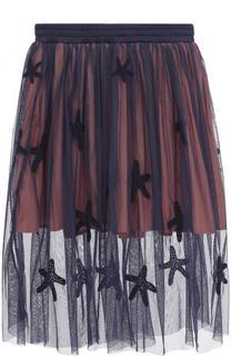 Полупрозрачная юбка-миди с вышивкой Stella McCartney