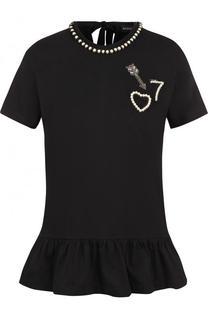 Хлопковая футболка с оборкой и контрастной отделкой Markus Lupfer
