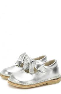 Туфли из металлизированной кожи с бантом и застежкой велькро Il Gufo