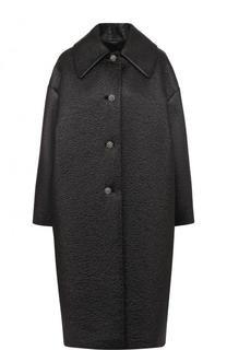 Однотонное пальто свободного кроя с декорированными пуговицами Lanvin