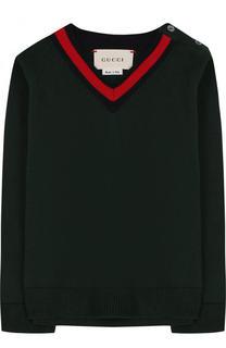 Хлопковый пуловер с V-образным вырезом Gucci