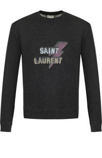 Хлопковый свитшот с принтом Saint Laurent