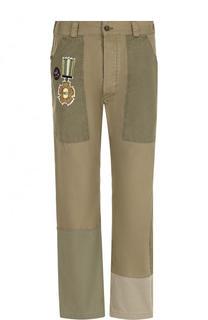 Хлопковые брюки прямого кроя с отделкой Valentino
