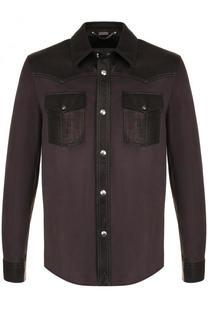 Замшевая рубашка на кнопках с кожаной отделкой Lanvin