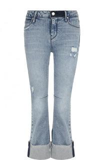 Укороченные расклешенные джинсы с потертостями RTA