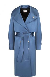 Однотонное пальто с поясом и кейпом Lanvin