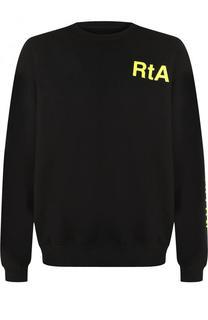 Хлопковый свитшот с контрастной надписью RTA