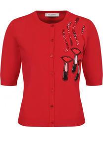 Кардиган с укороченным рукавом и декоративной отделкой Valentino