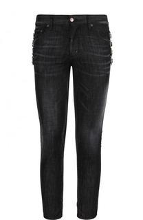 Зауженные джинсы с декоративными пряжками Dsquared2