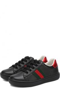 Кожаные кеды на шнуровке с контрастной отделкой Gucci